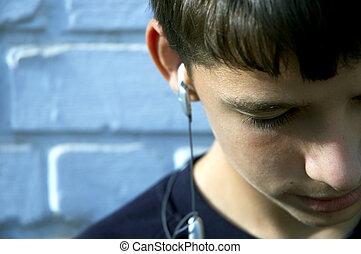 jugendlich, hören, der, liebling, lied