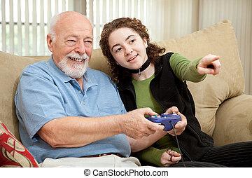jugendlich, hilft, opa, mit, videospiel