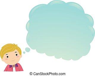 jugendlich, kerl, abbildung, wolke, stickman, denken