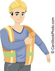 jugendlich, kerl, baugewerbe, abbildung, uniform