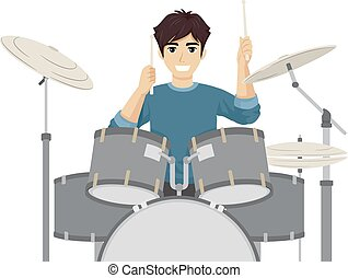 jugendlich, kerl, trommeln, spielen, abbildung