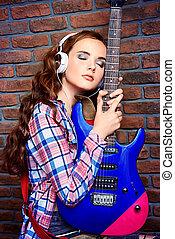 jugendlich, mit, elektrische gitarre