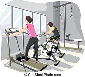 jugendlich paare, turnhalle, workout