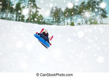 jugendlich, rohr, schnee, unten, m�dchen, schieben,...