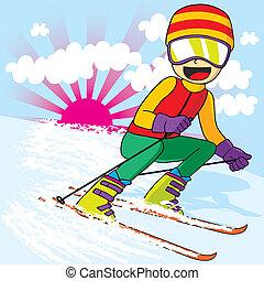 jugendlich, schnell, ski fahrend
