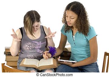 jugendlich, sitzung, studieren