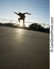 jugendlich, skateboarder, zerstreut