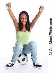 jugendlich, sport, m�dchen, feiert, fußball, erfolg