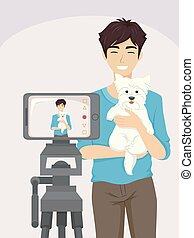 jugendlich, vlogging, kerl, hund, abbildung