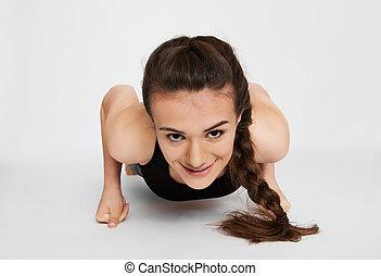 jugendlich, workout, m�dchen