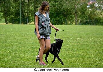 Jugendliche mit ihrem Hund - Teenager mit Hund am...