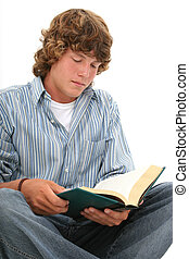 jugendlicher junge, buch, lesen