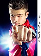 jugendlicher junge, finger., zeigen, fitness