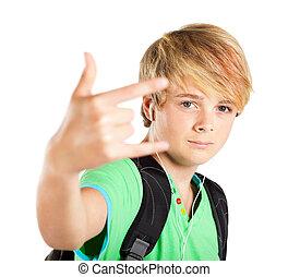jugendlicher junge, geben, hand, funky, zeichen