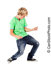 jugendlicher junge, gitarre spielen, luft
