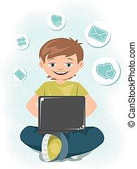 jugendlicher junge, laptop, junger, arbeitende