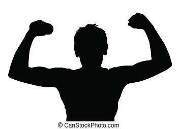 jugendlicher junge, muskeln, silhouette, trainieren