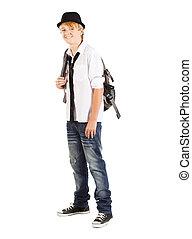 jugendlicher junge, rucksack