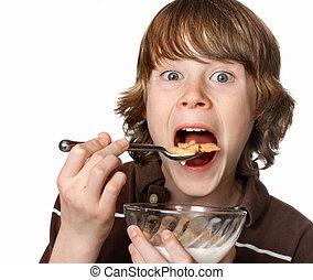 jugendlicher junge, schüssel, essende, getreide