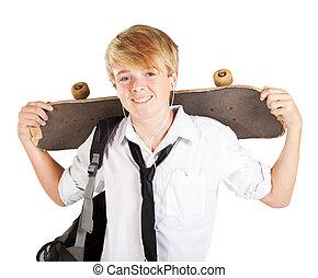jugendlicher junge, skateboarder, porträt