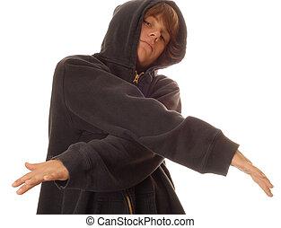 jugendlicher junge, tragen, junger, sicher, haltung, schwarz, hoodie