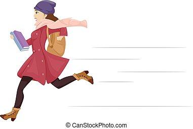 jugendliches mädchen, laufen, spät, schule