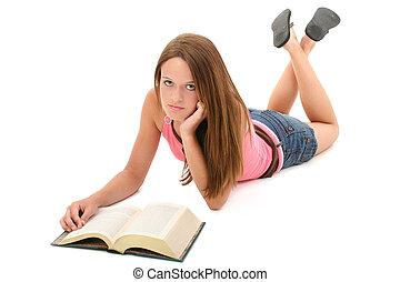 jugendliches mädchen, lesende
