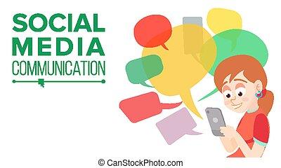 jugendliches mädchen, messaging, vector., kommunizieren, auf, internet., plaudern, auf, network., gebrauchend, smartphone., bunte, unterhaltung, bubbles., sozial, medien, sucht, begriff, abbildung