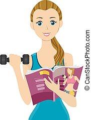 jugendliches mädchen, zeitschrift, fitness