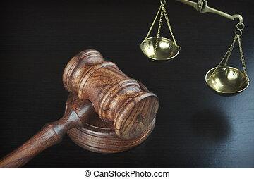 juges, échelle, justice, noir, marteau, table