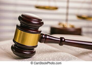 juges, échelle, livre, closeup, marteau, droit & loi, ouvert