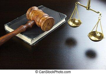 juges, échelle, vieux, justice, livre, noir, table, marteau