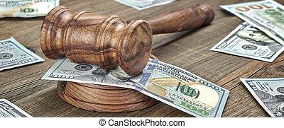juges, bois, argent, ou, fond, auctioneers, marteau, pile