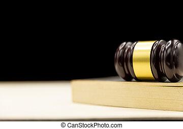 juges, concept, bois, arrière-plan., livre, justice, marteau, droit & loi, table.