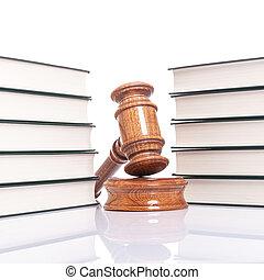 juges, concept, justice, -, livres, marteau, droit & loi