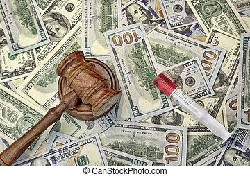 juges, dollar, espèces, marteau, fond, seringue, injection