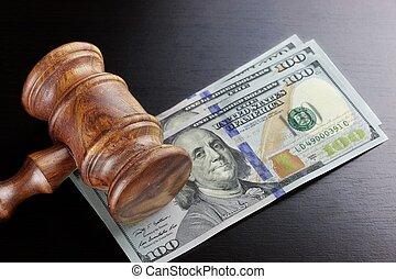 juges, dollar, espèces, noir, marteau, table