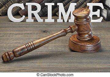 juges, droit & loi, bois, crime, livre, table, signe, marteau