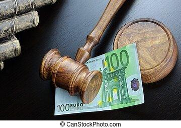 juges, espèces, noir, marteau, table, euro