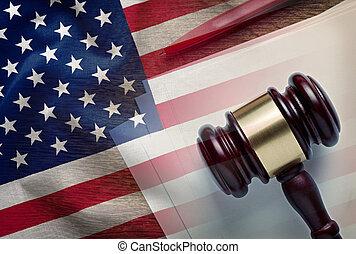 juges, légal, drapeau, nous, marteau, document