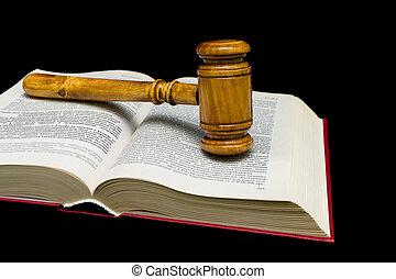 juges, livre, arrière-plan noir, marteau, droit & loi