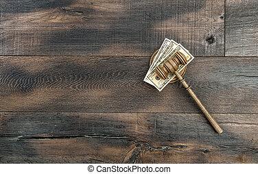 juges, marteau, à, caisse de résonnance, et, dollar américain, billets banque
