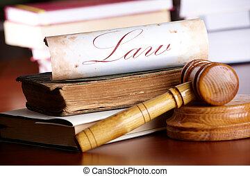 juges, marteau, à, très, vieux livres