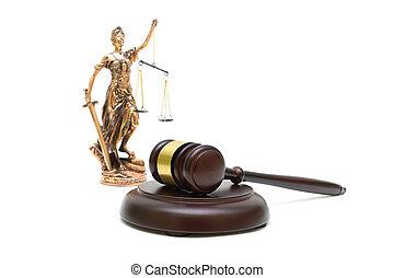 juges, marteau, et, les, statue, de, justice, blanc, fond