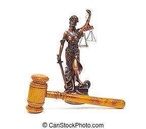 juges, marteau, et, les, statue, de, justice, sur, a, fond blanc
