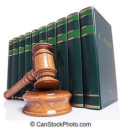 juges, marteau, et, livres loi