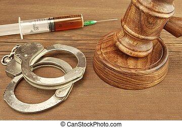 juges, menottes, bois, fond, seringue, rugueux, marteau