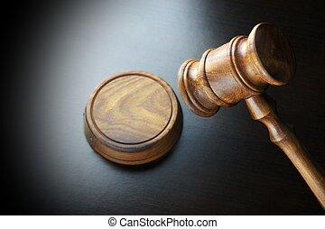 juges, noix, noir, auctioneers, marteau, table, ou
