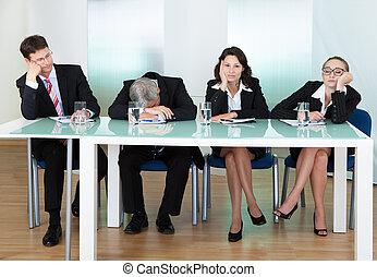 juges, percé, ou, panneau, interviewers