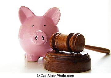 juges, tribunal, banque, porcin, marteau, blanc